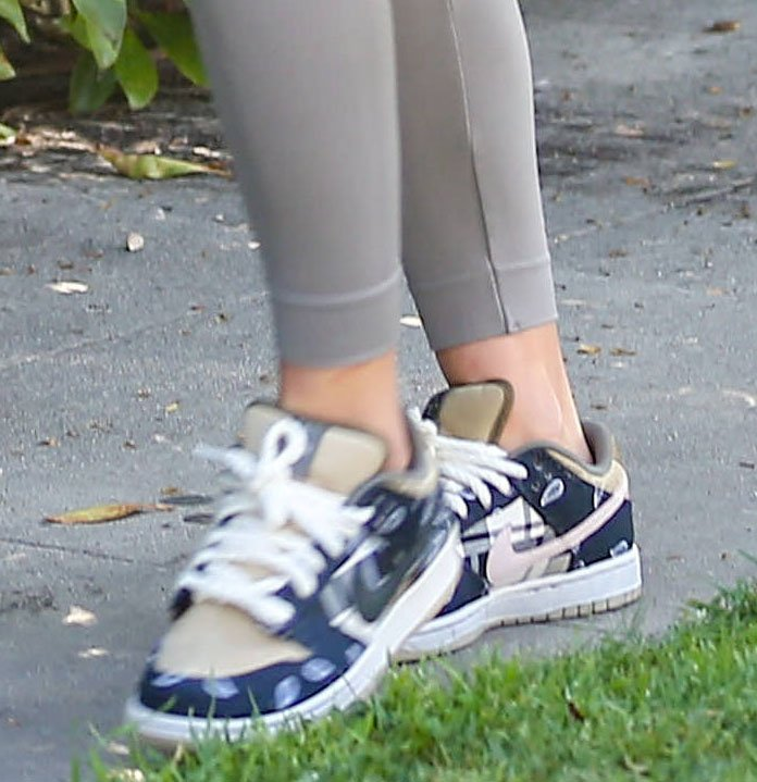 Sofia Richie finishes off her sporty look with Nike x Travis Scott SB Dunk Low sneakers