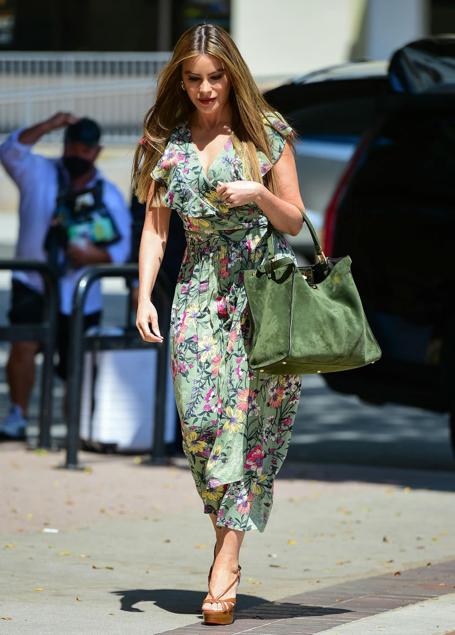 Sofia Vergara looks fresh in Sofia Jeans floral-print green dress on April 17, 2021