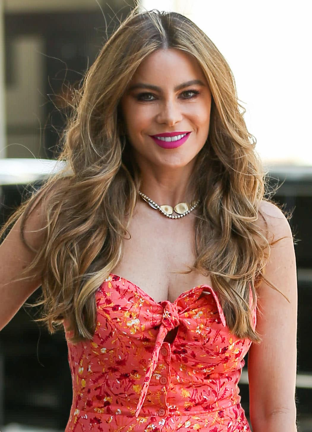 Sofia Vergara wears her signature curls and fuchsia pink lip color