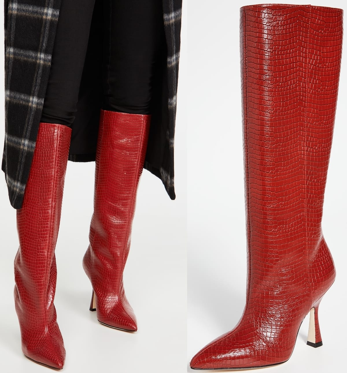 Red Patron knee-high boots from Stuart Weitzman made from croc-effect leather