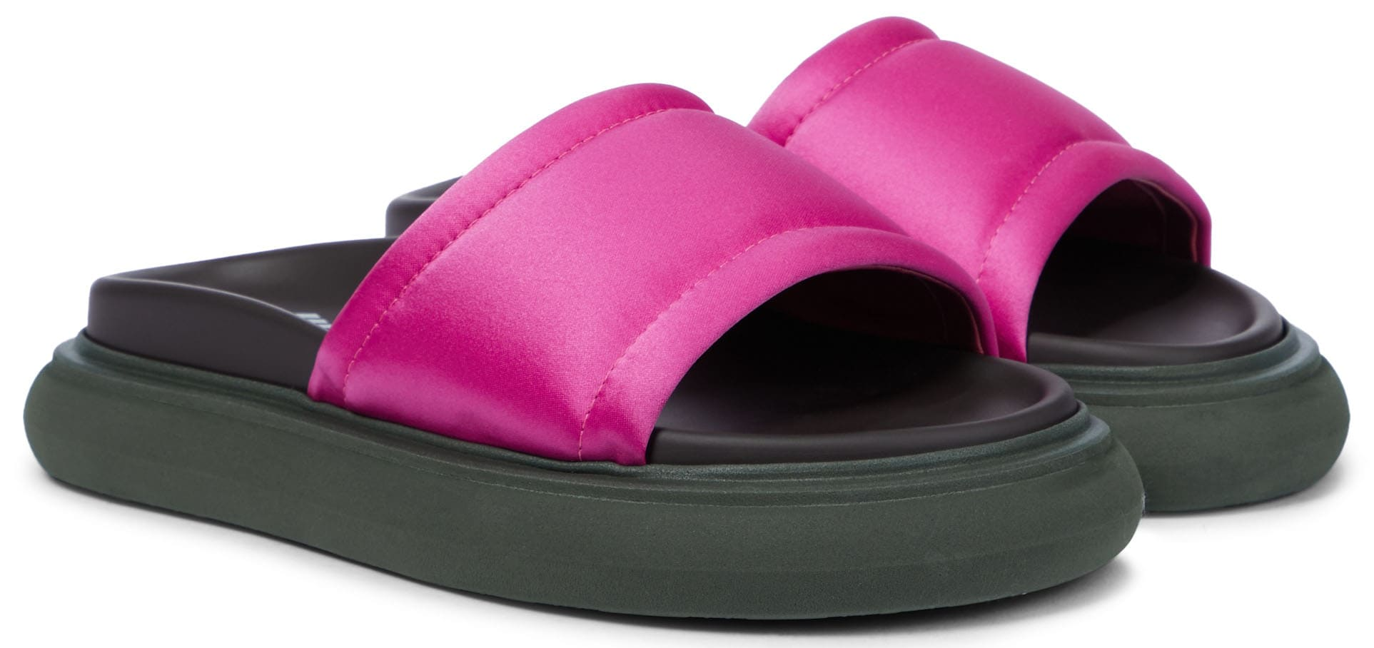 The Attico Noah slides have chunky, flat rubber soles and wide satin uppers
