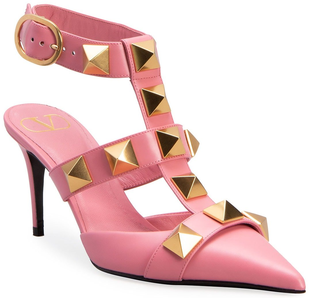 The Roman Stud pumps also come in flamingo pink colorway with 3-inch heels