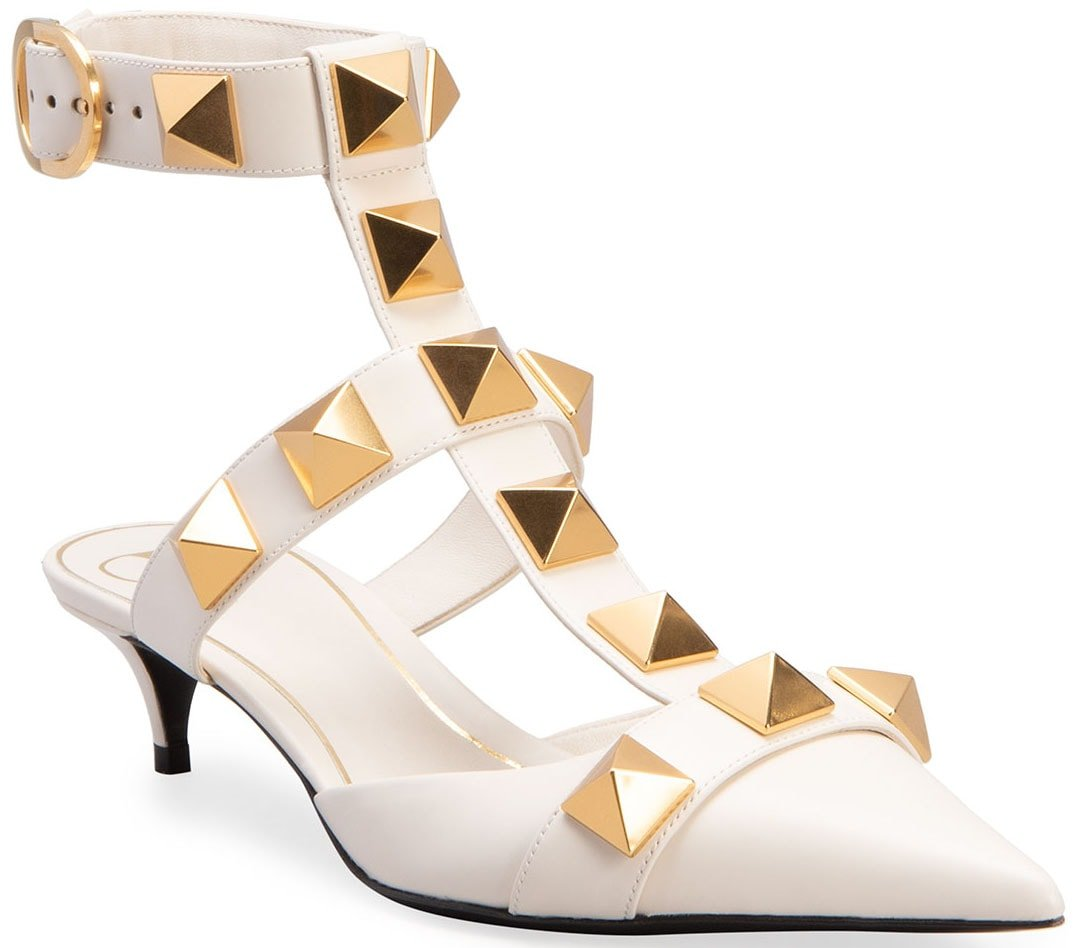 Easily identified by the chunky pyramid studs, the Roman Stud pumps also have T-strap caged vamps and ankle straps
