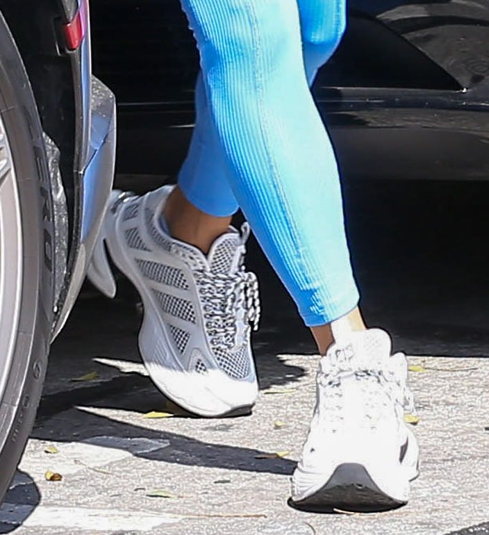 Vanessa Hudgens adds height to her athleisure look with Naked Wolfe Sicko chunky sneakers