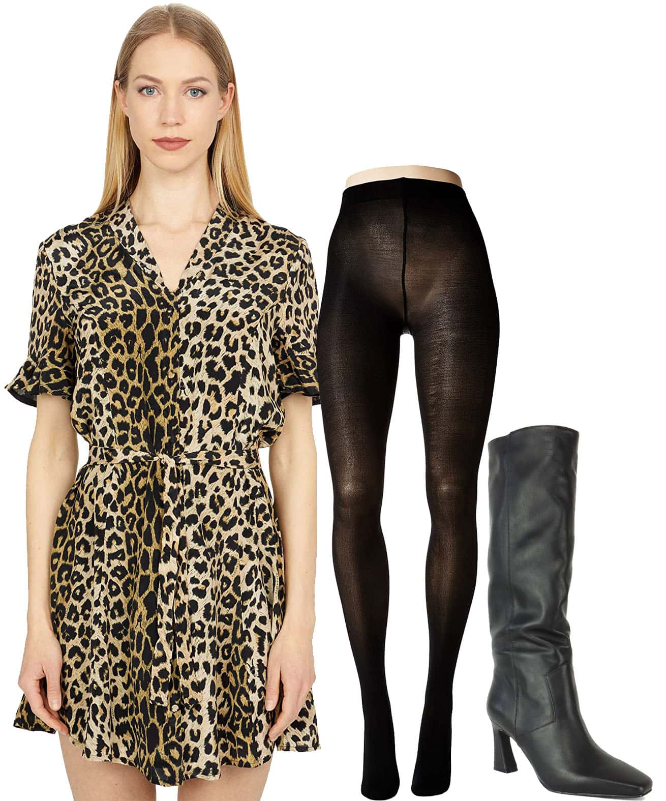 All Saints Fey Leppo Dress, Bloch Contoursoft Footed Tights, Caverley Candy Slouchy Leather Knee Boots