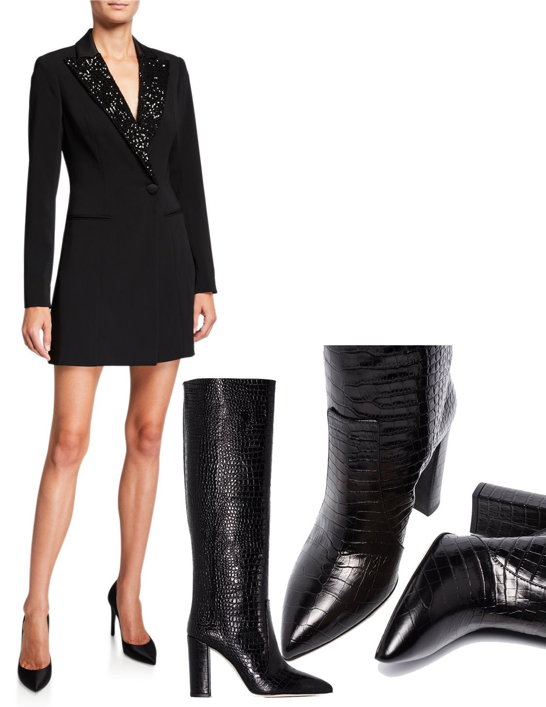 Jay Godfrey Ace Long-Sleeve Sequin-Collar Blazer Dress and Paris Texas 100mm Crocodile-Effect Knee-High Boots