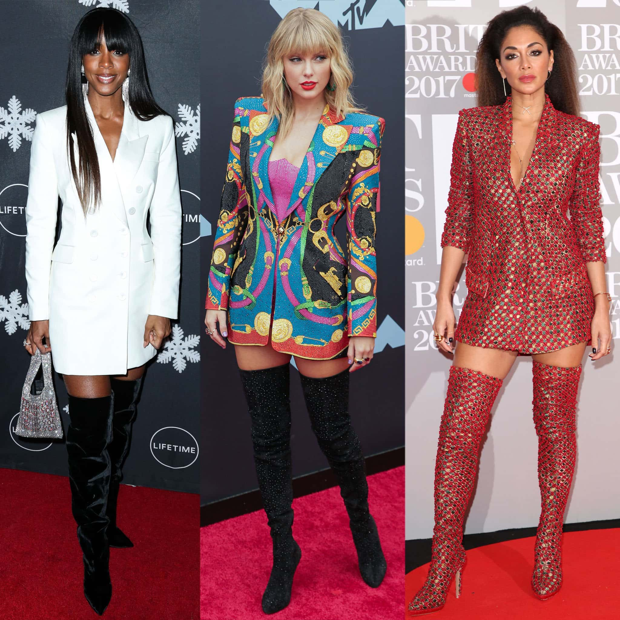Kelly Rowland, Taylor Swift, and Nicole Scherzinger look hot in blazer dresses with knee and thigh-high boots