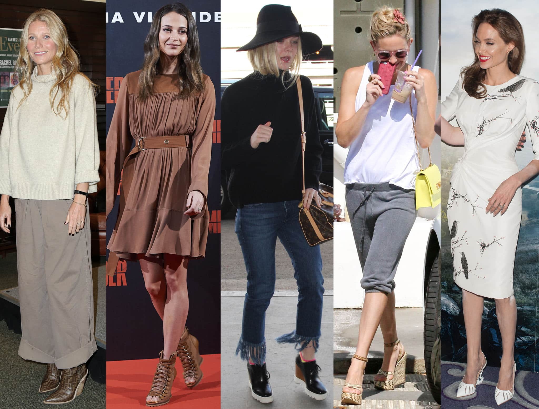 Gwyneth Paltrow, Alicia Vikander, Elle Fanning, Kate Hudson, and Angelina Jolie wear different styles of wedge shoes