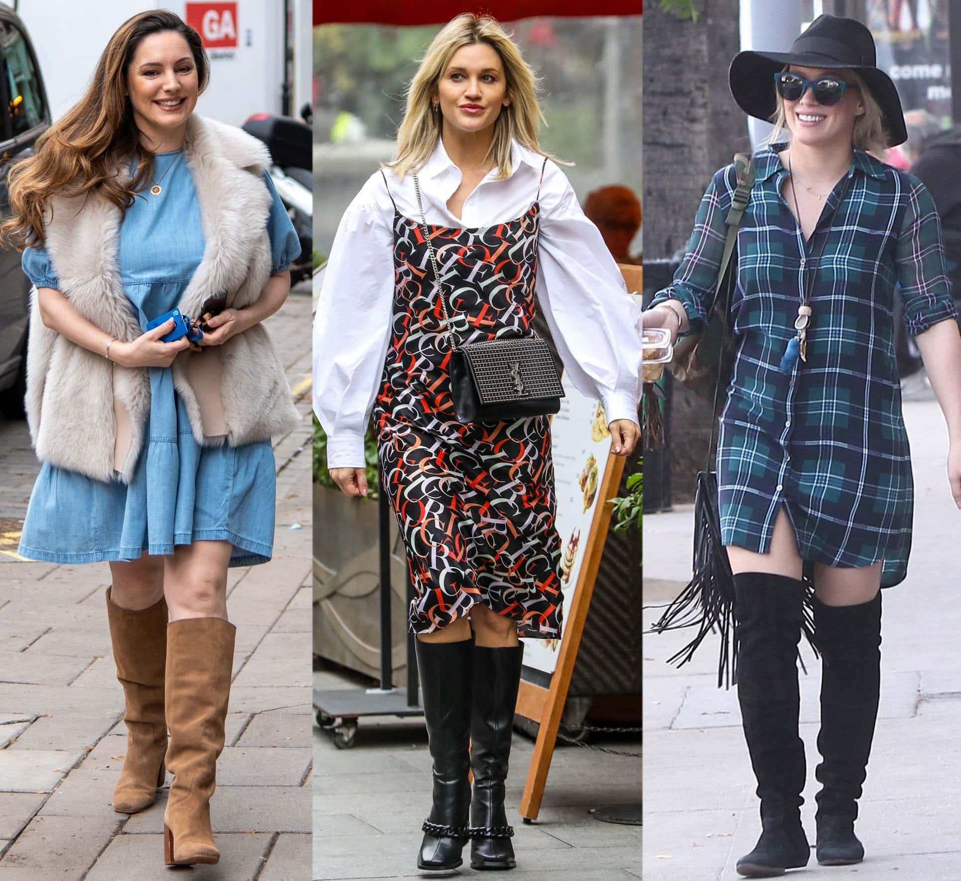 Kelly Brook, Ashley Roberts, and Hilary Duff team knee-length dresses with knee-high boots