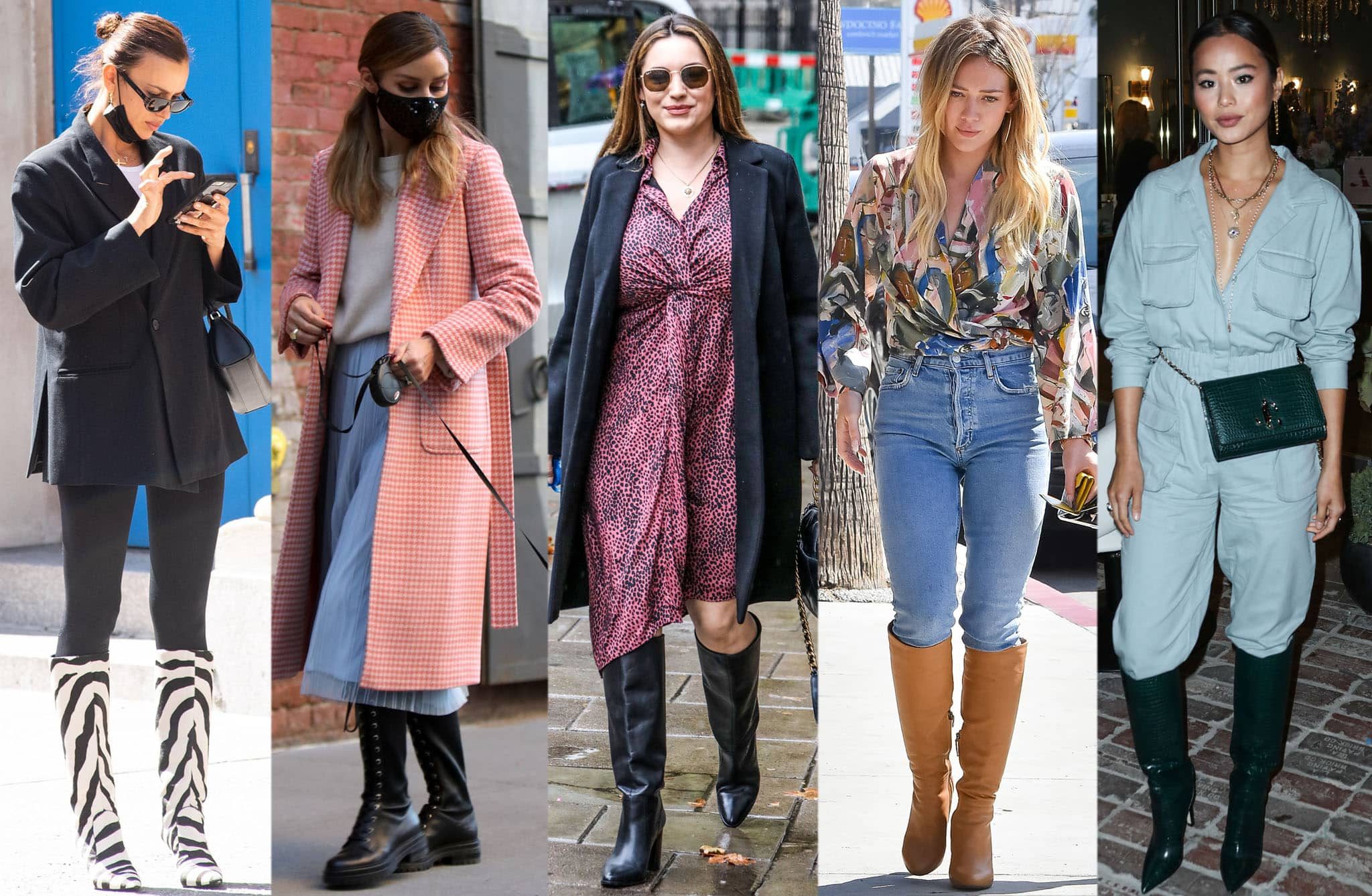 Irina Shayk, Olivia Palermo, Kelly Brook, Hilary Duff, and Jamie Chung show different ways to wear knee-high boots