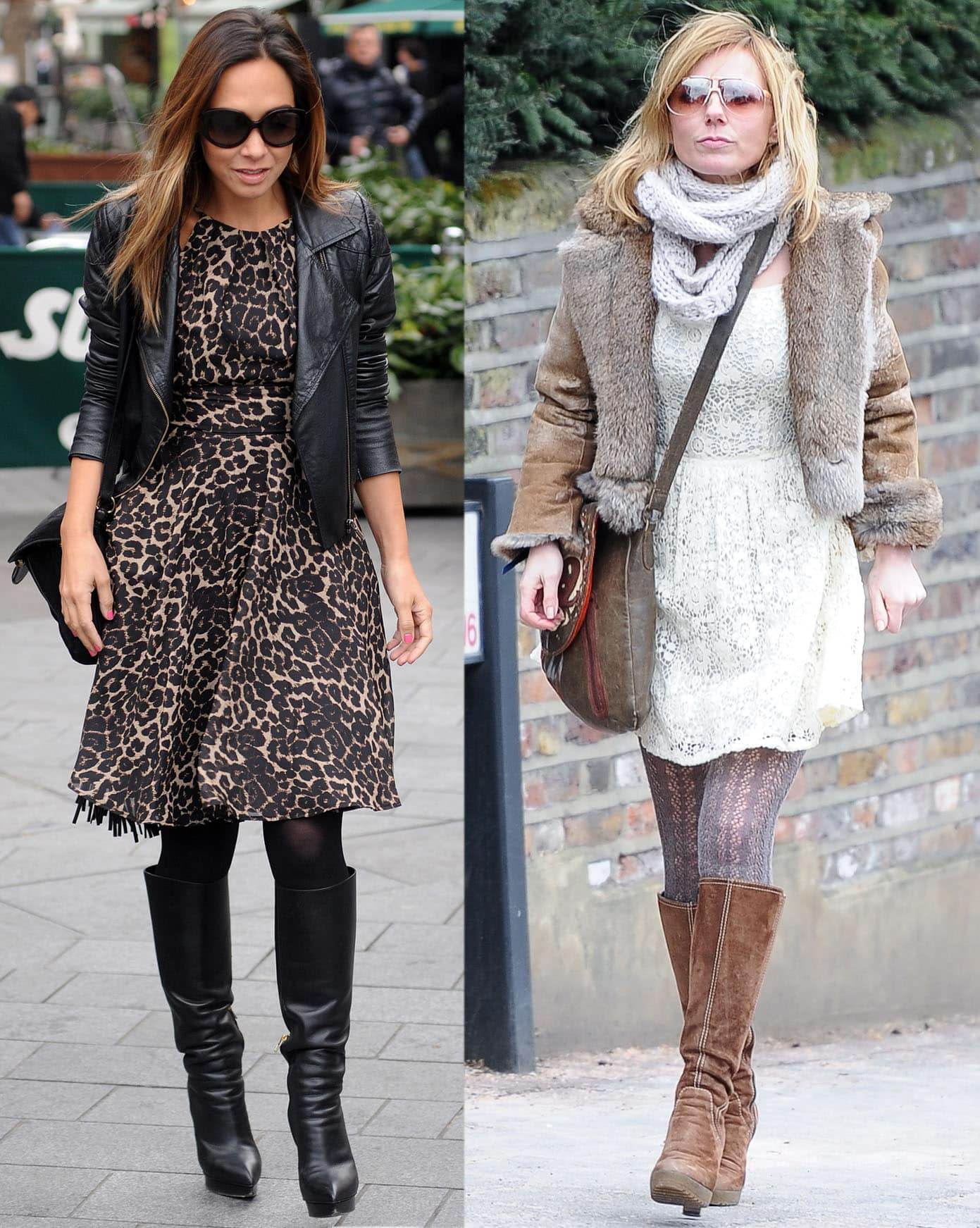 Geri Halliwell and Myleene Klass style their knee-high boots with tights and socks