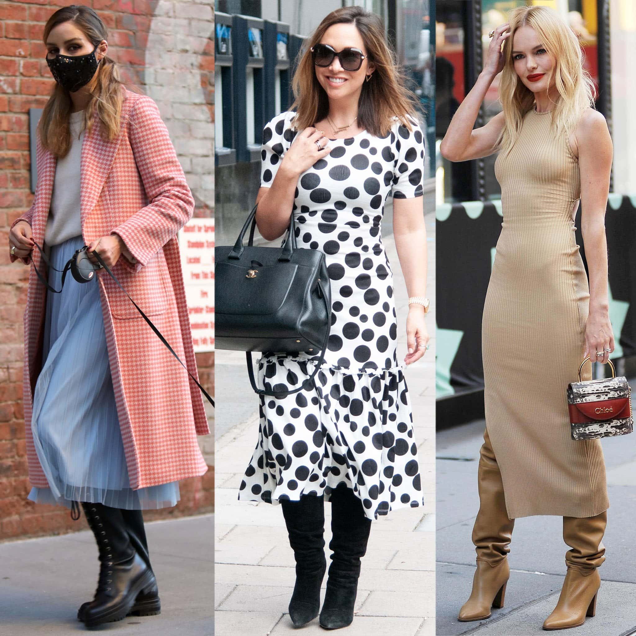 Olivia Palermo, Myleene Klass, and Kate Bosworth teams their knee-high boots with midi dresses