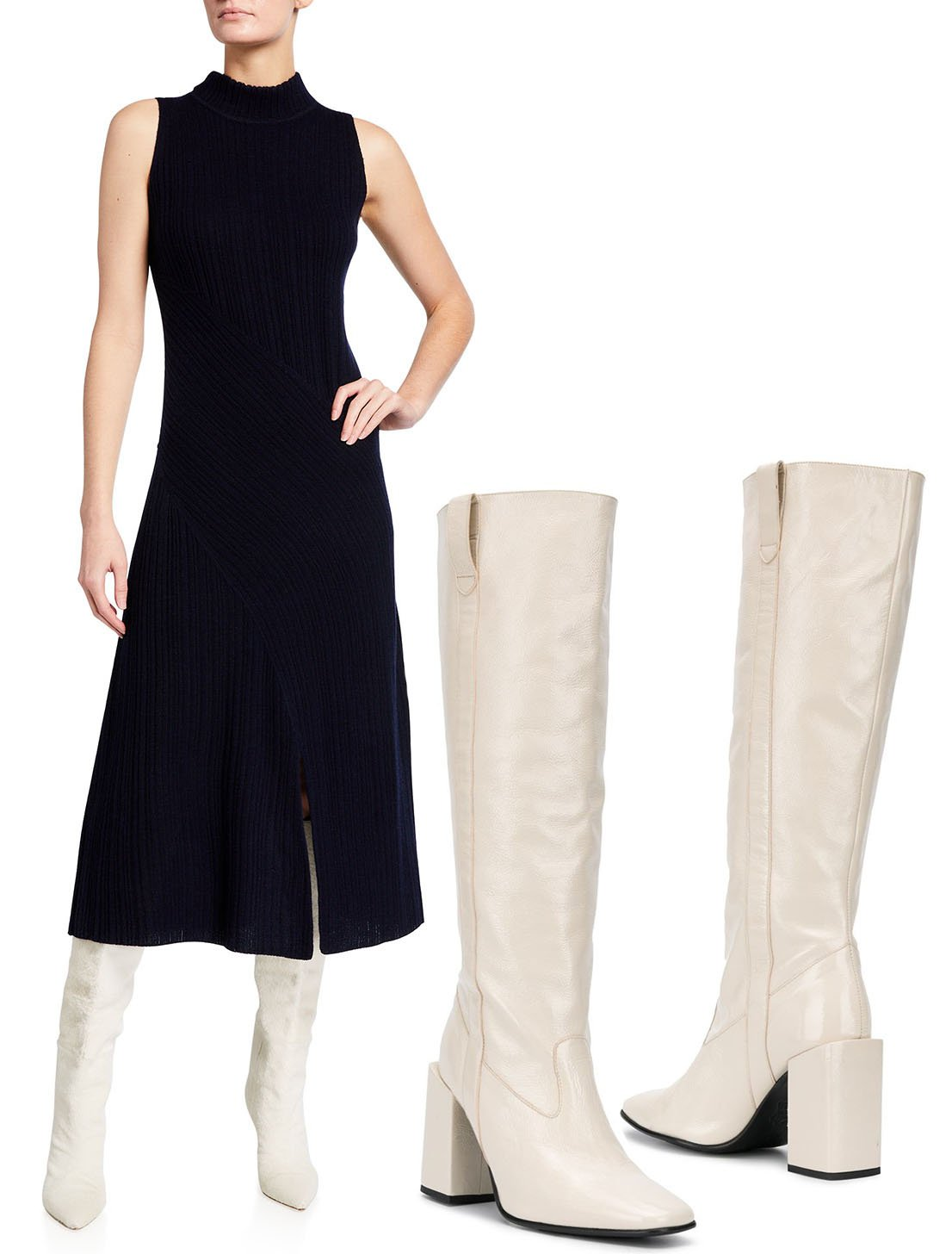 Vince Diagonal Ribbed Sleeveless Midi Dress and AMI Paris Block-Heel Knee-High Boots