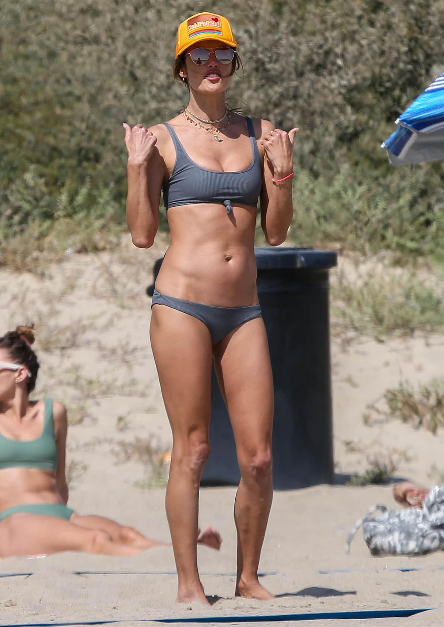 Alessandra Ambrosio flaunts her bikini body in Frankies Bikini two-piece gray swimwear