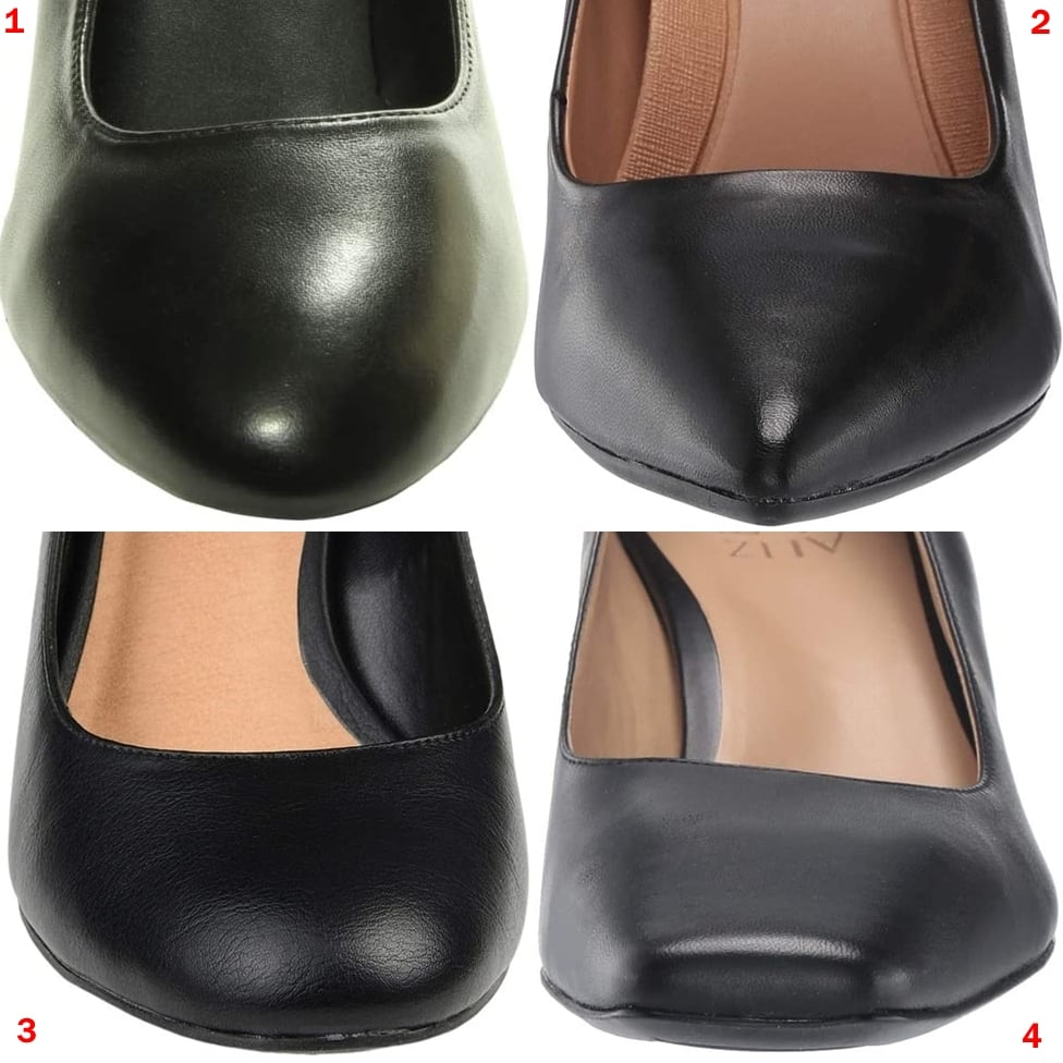 There most common shoe toe shapes are almond toe (1), pointy toe (2), round toe (3), and square toe (4)