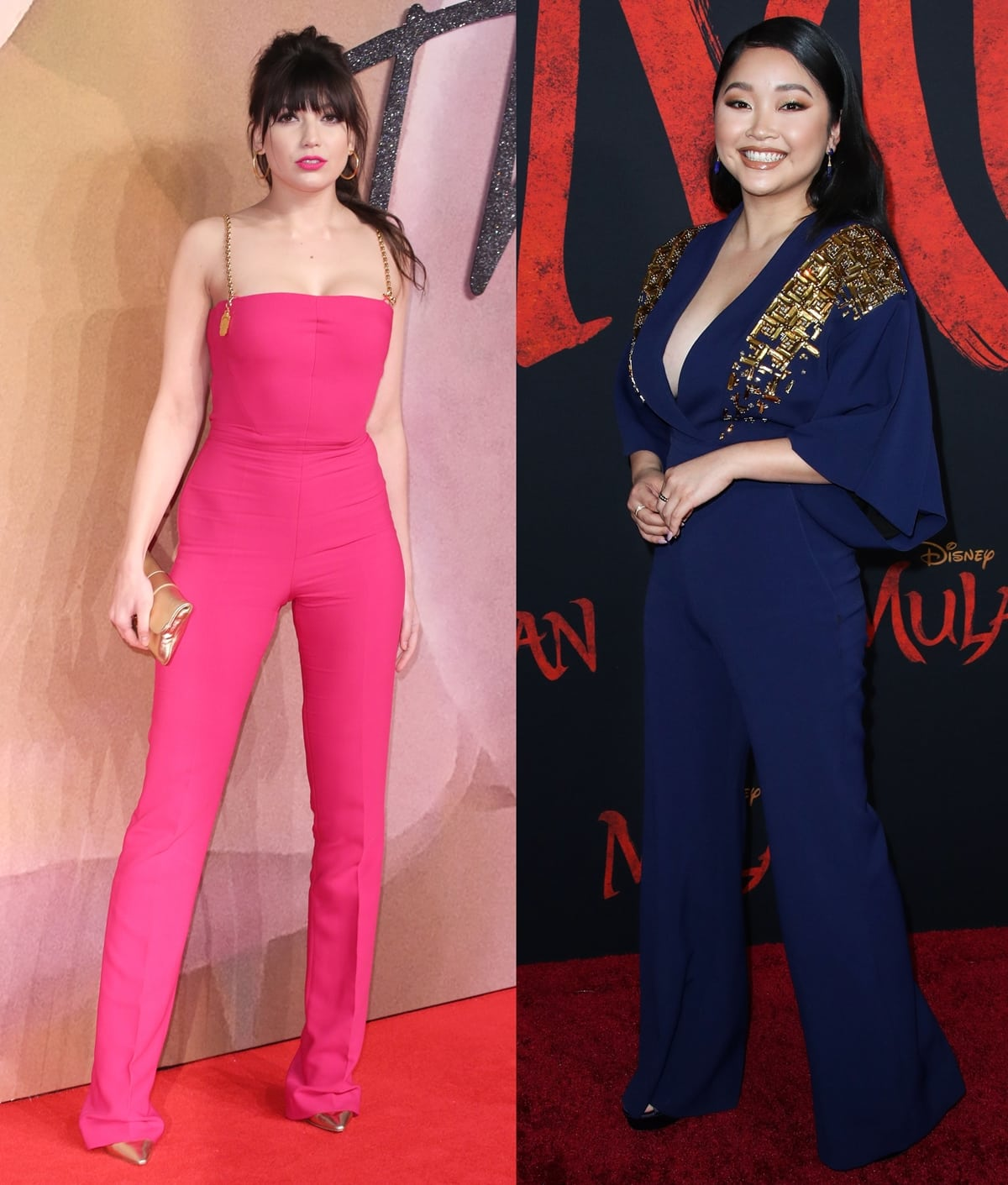 Daisy Lowe in a pink stretch-cady Antonio Berardi jumpsuit with chain straps (L) and Lana Condor in a navy Antonio Berardi jumpsuit with beaded gold shoulders