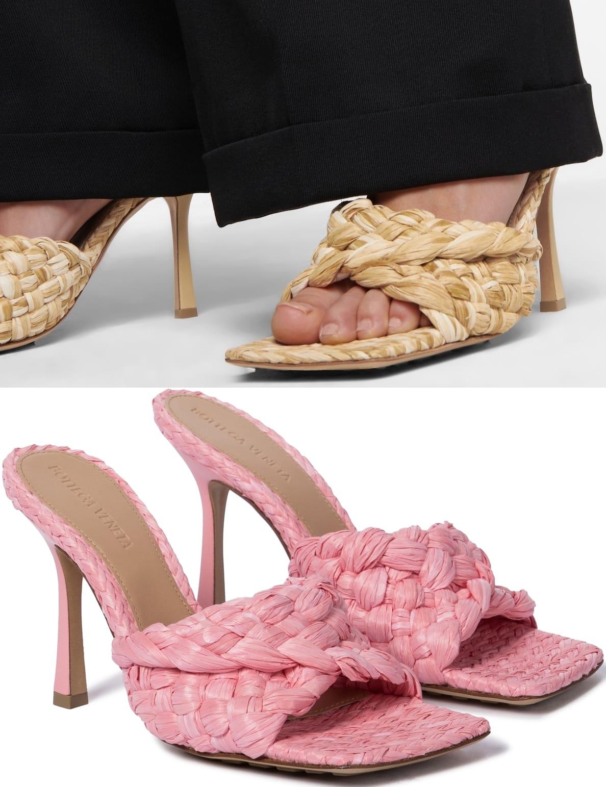 Bottega Veneta's signature Stretch sandals with woven raffia straps