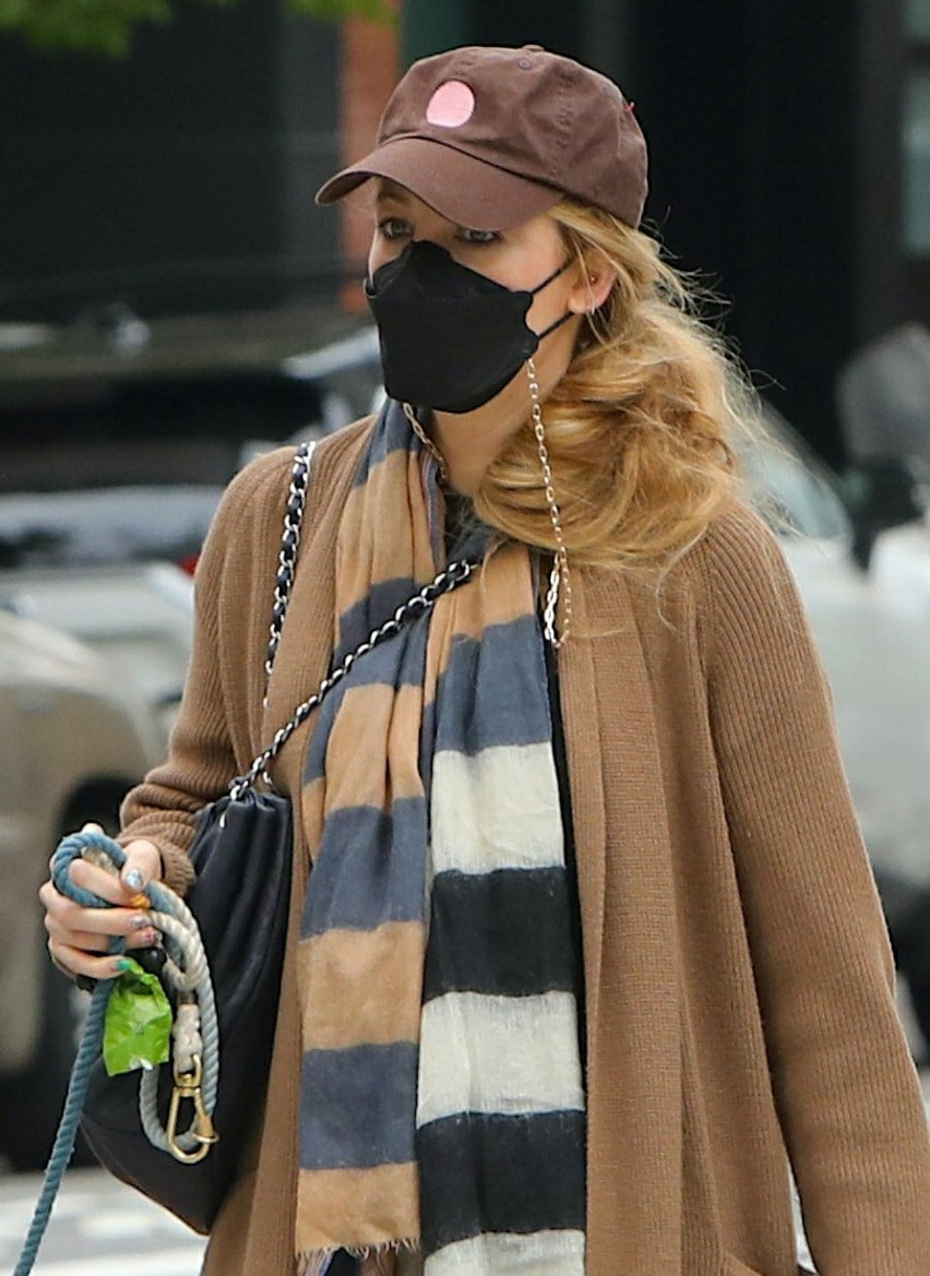Blake Lively wears a wavy ponytail and keeps a low profile with a brown cap and a black face mask