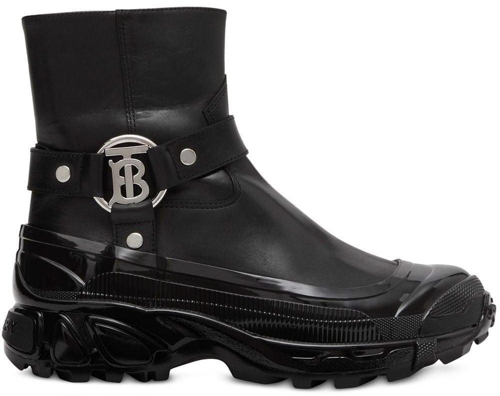 A rain boot-inspired pair featuring a chunky over shoe with Thomas Burberry monogram buckles
