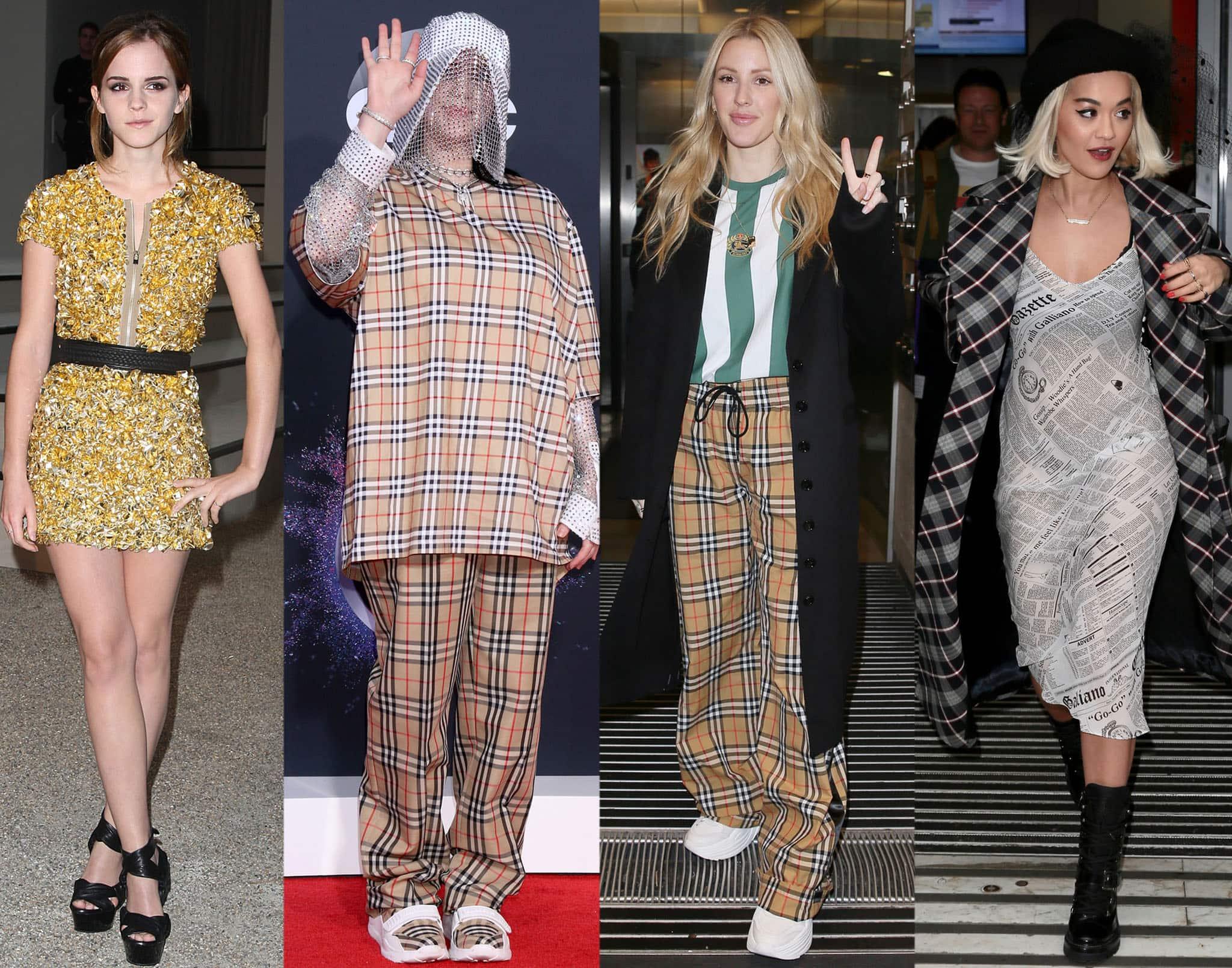Emma Watson, Billie Eilish, Ellie Goulding, and Rita Ora wearing Burberry