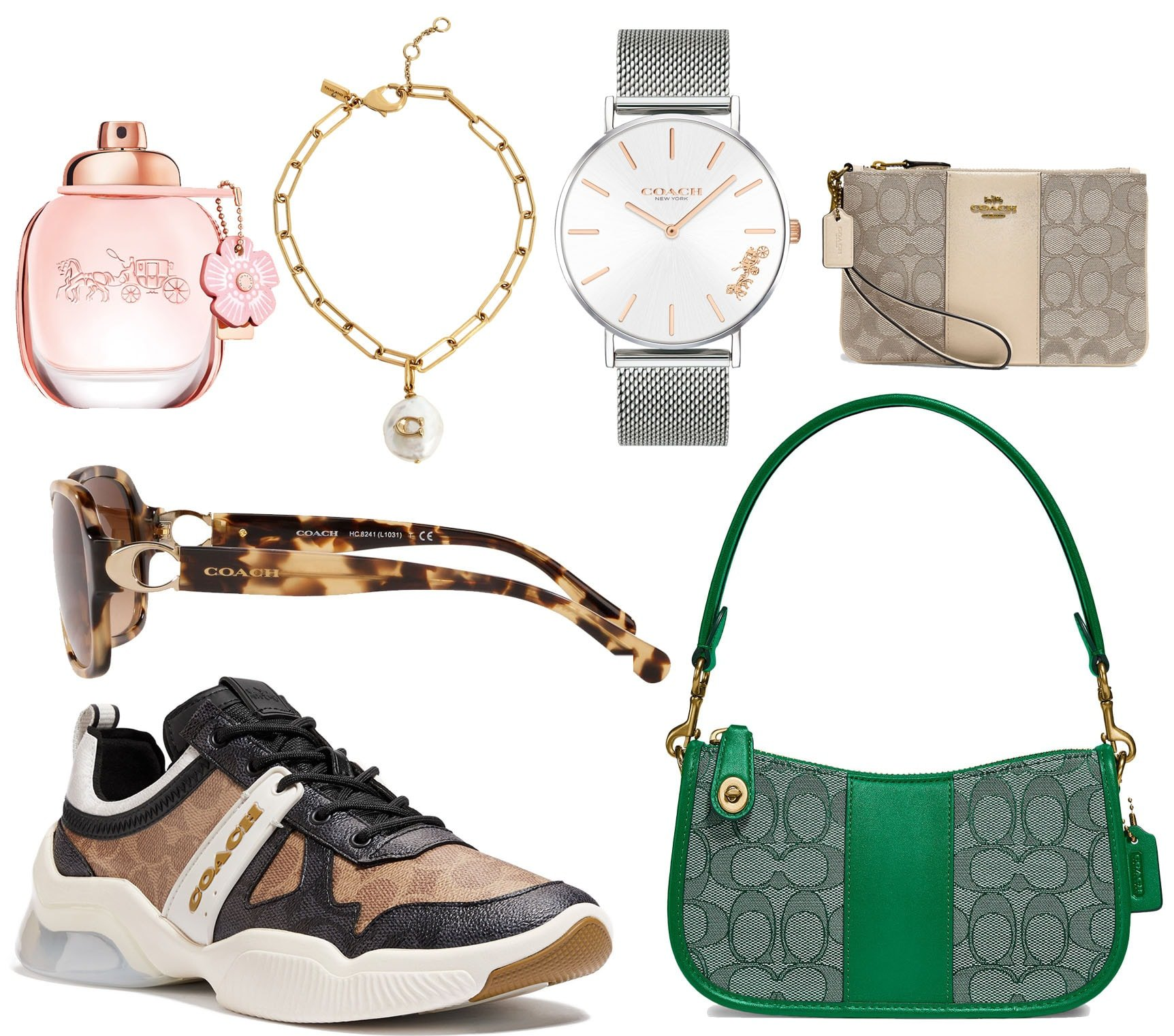 While Coach is famous for its leather goods, the brand also has an array of accessories, including watches, jewelry, sunglasses, and perfumes