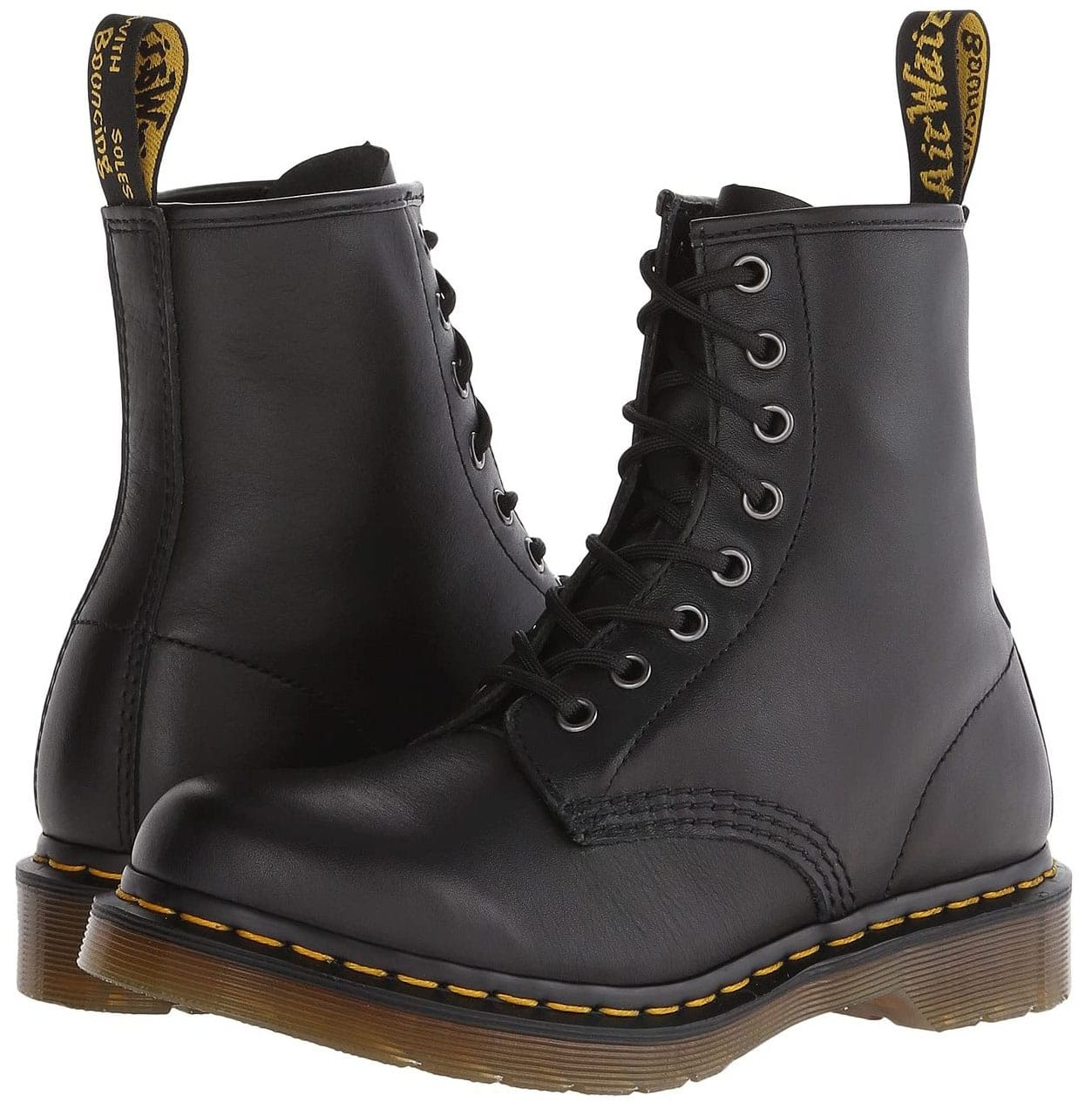 One of Dr. Martens' classic boot style with 8-Eye front, yellow stitching, and Airwair air-cushioned soles