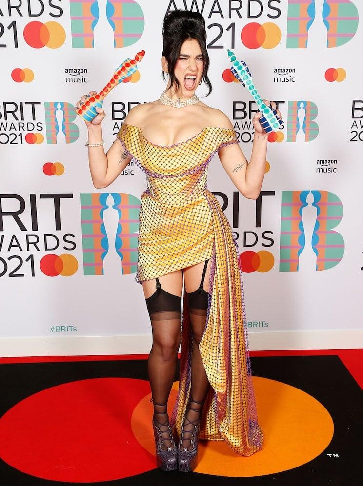 Dua Lipa bags 2021 Brit Female Solo Artist and Album of the Year awards in custom Vivienne Westwood
