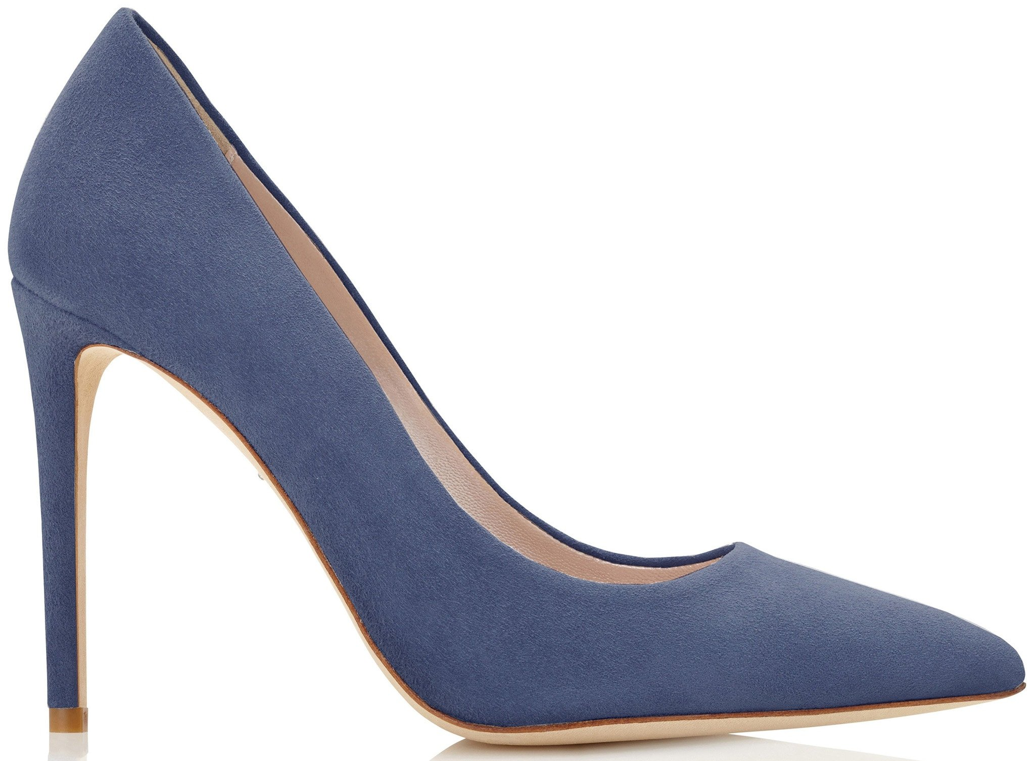 A classic, stylish pointed-toe shoe done in summery blue-gray suede with flattering straight heels