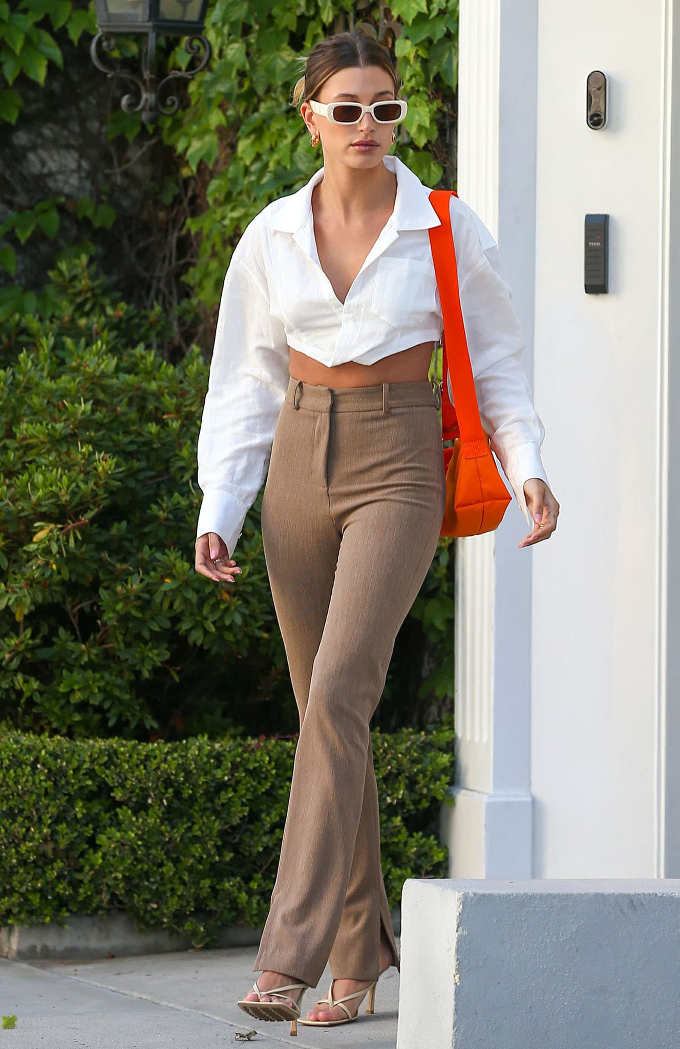 Hailey Bieber goes to a business meeting in Los Angeles on May 4, 2021