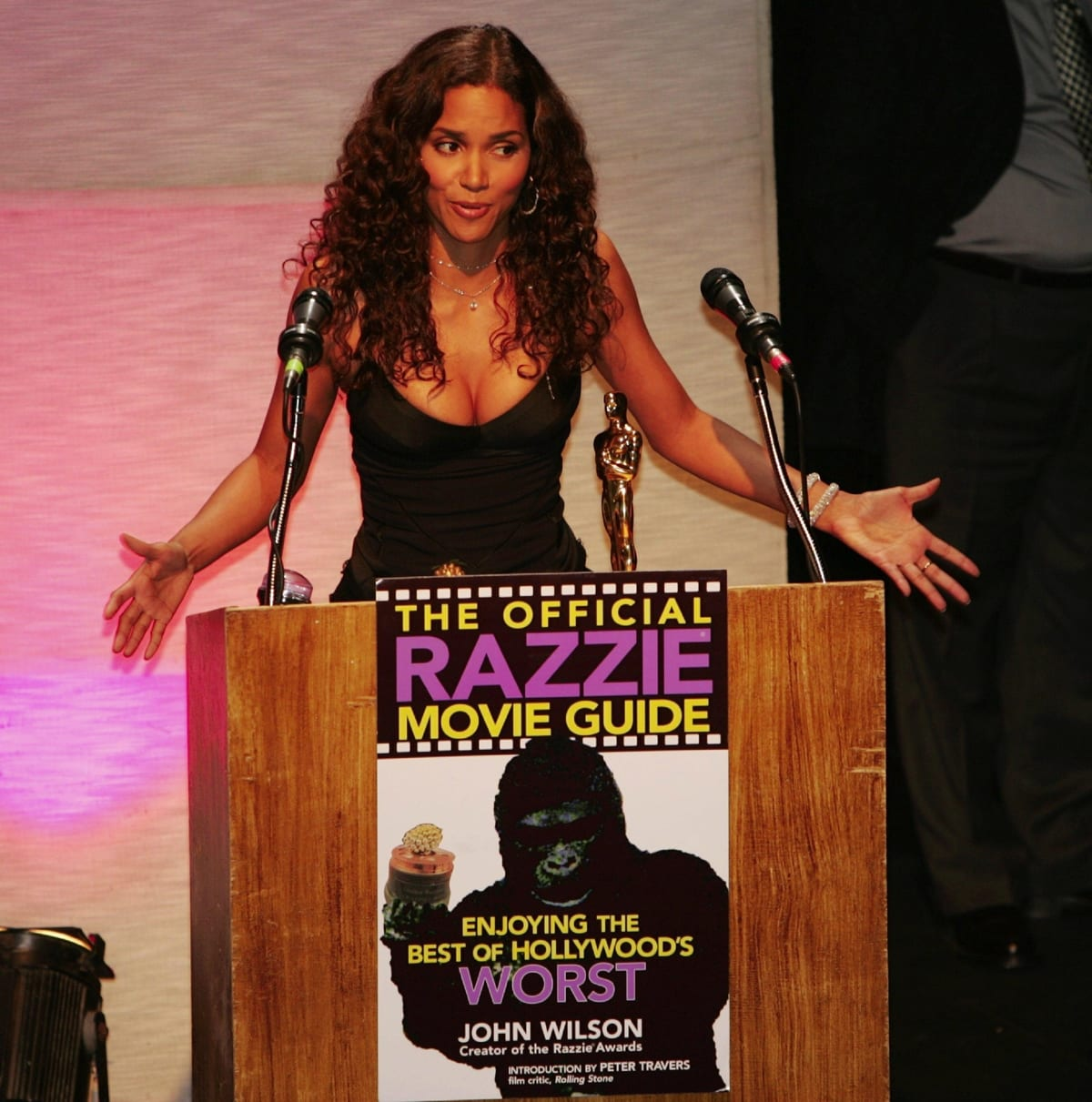 Halle Berry accepting the Razzie for Worst Actress of 2004 for her performance in 'Catwoman'