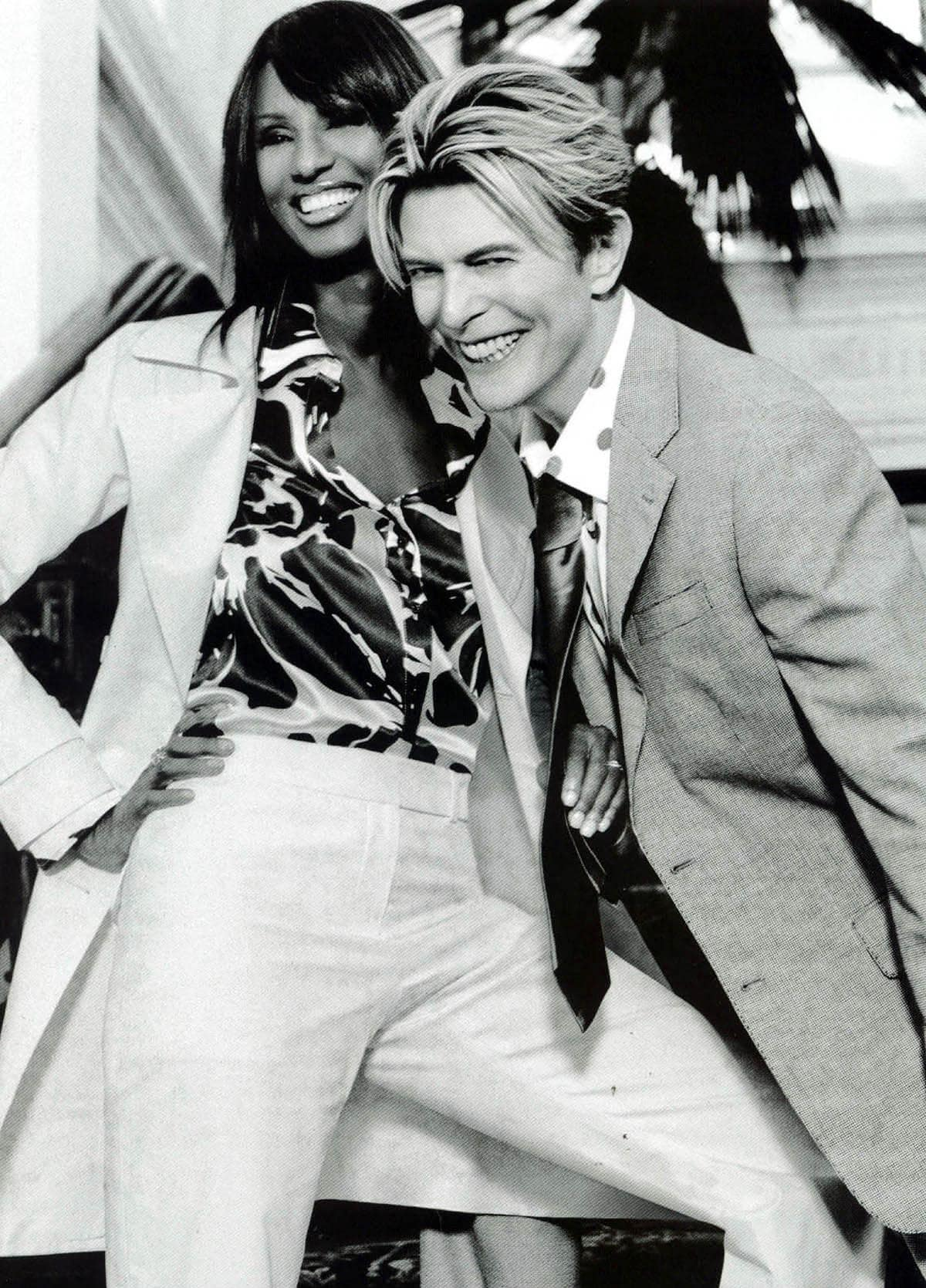 Iman and David Bowie get romantic in a print advertisement for Tommy Hilfiger's Spring 2004 collection