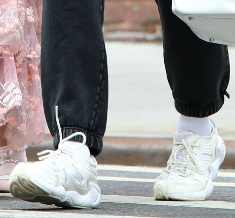 Irina Shayk completes her casual look with Adidas Originals Fyw S-97 shoes