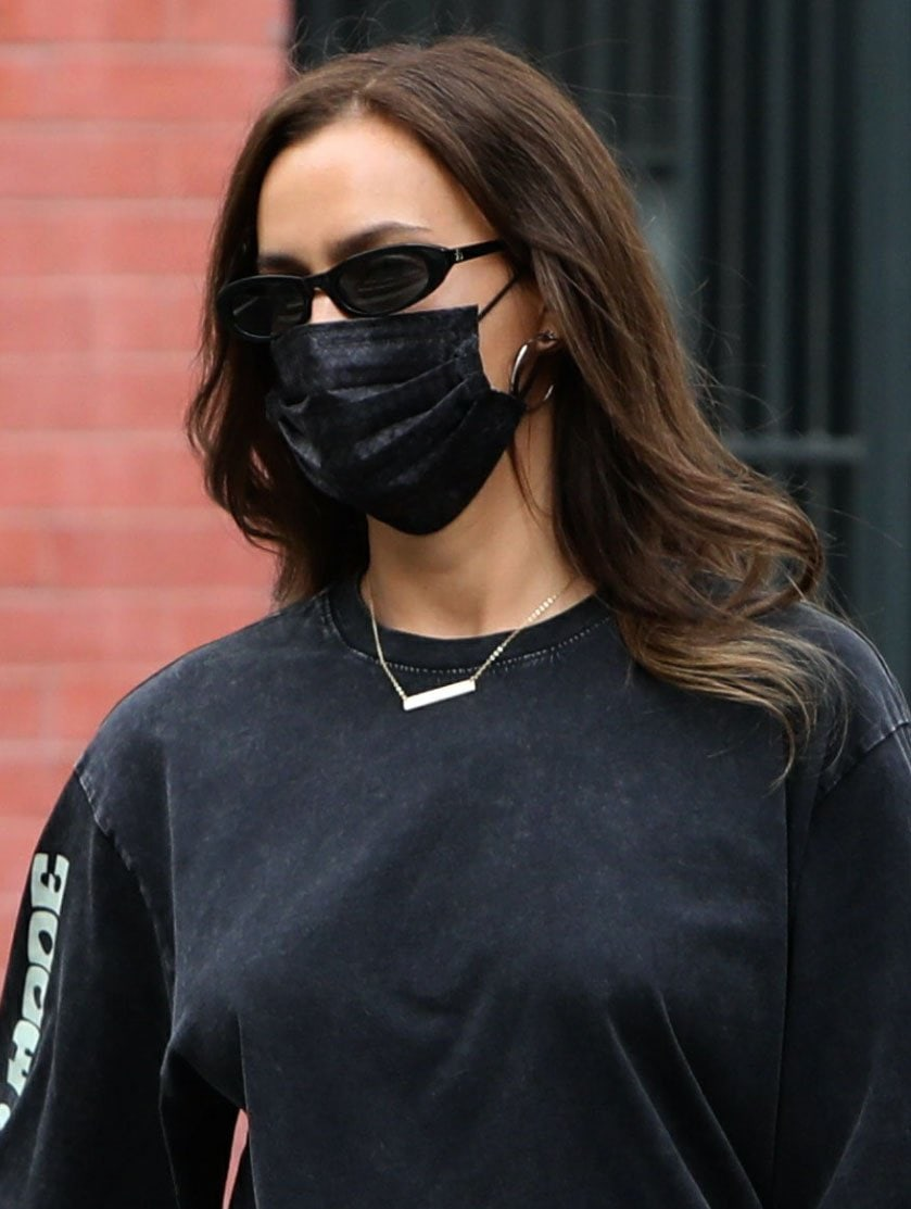 Irina Shayk stays safe with her Barriere basketweave face mask