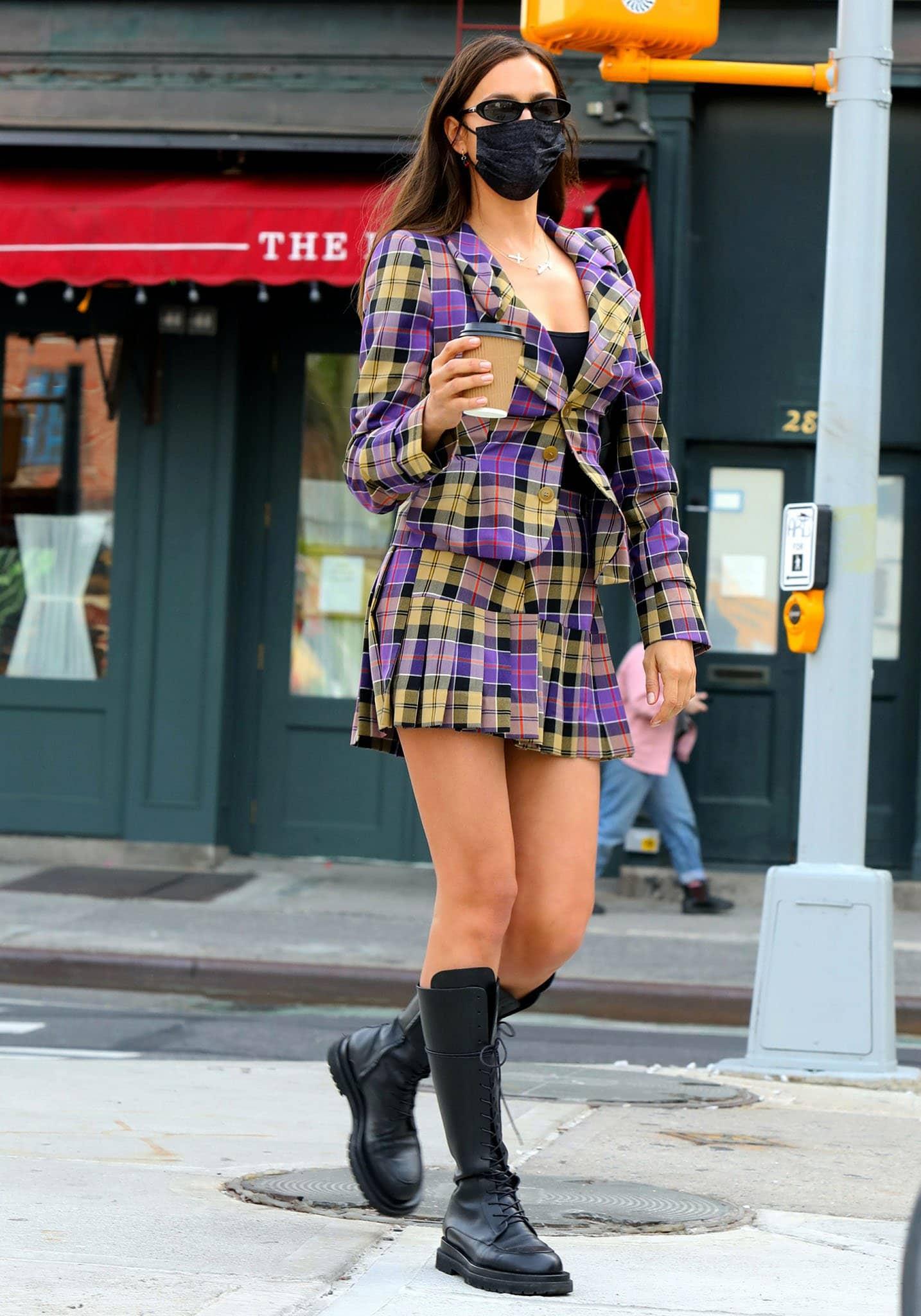 Irina Shayk channels Clueless' Cher Horowitz in Vivienne Westwood F/W RTW 2021 plaid jacket and skirt