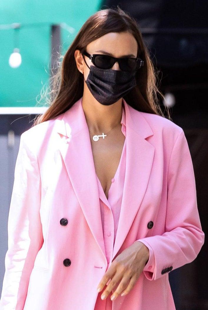 Irina Shayk wears spring chic bubblegum pink suit from Hugo Boss