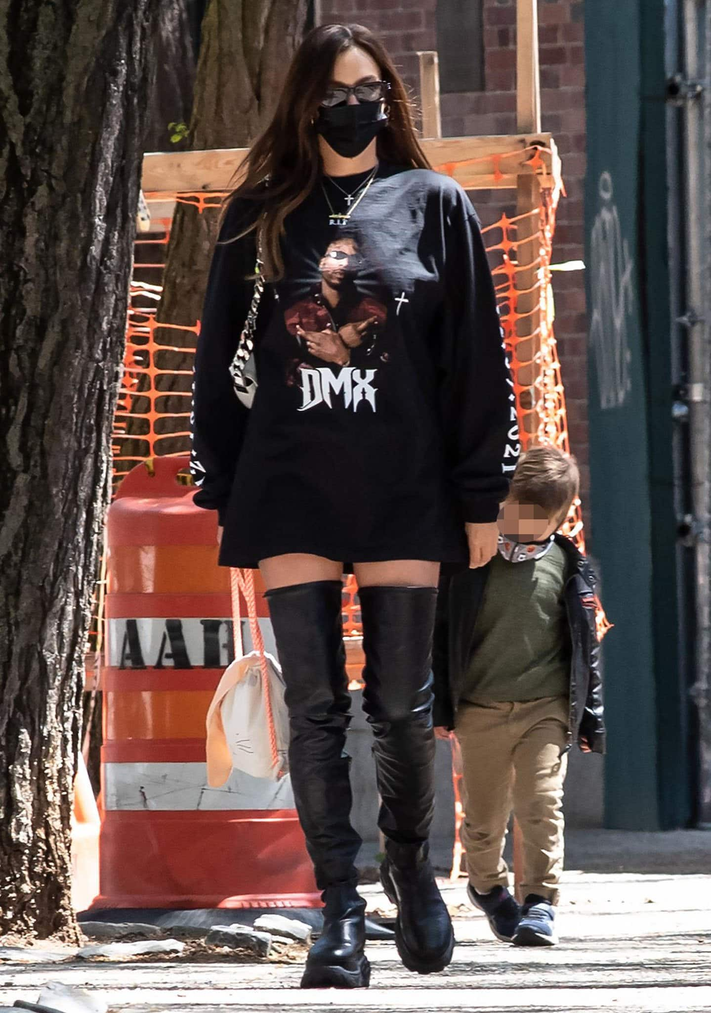 Irina Shayk goes rock-chic as she picks her daughter up from school on April 26, 2021