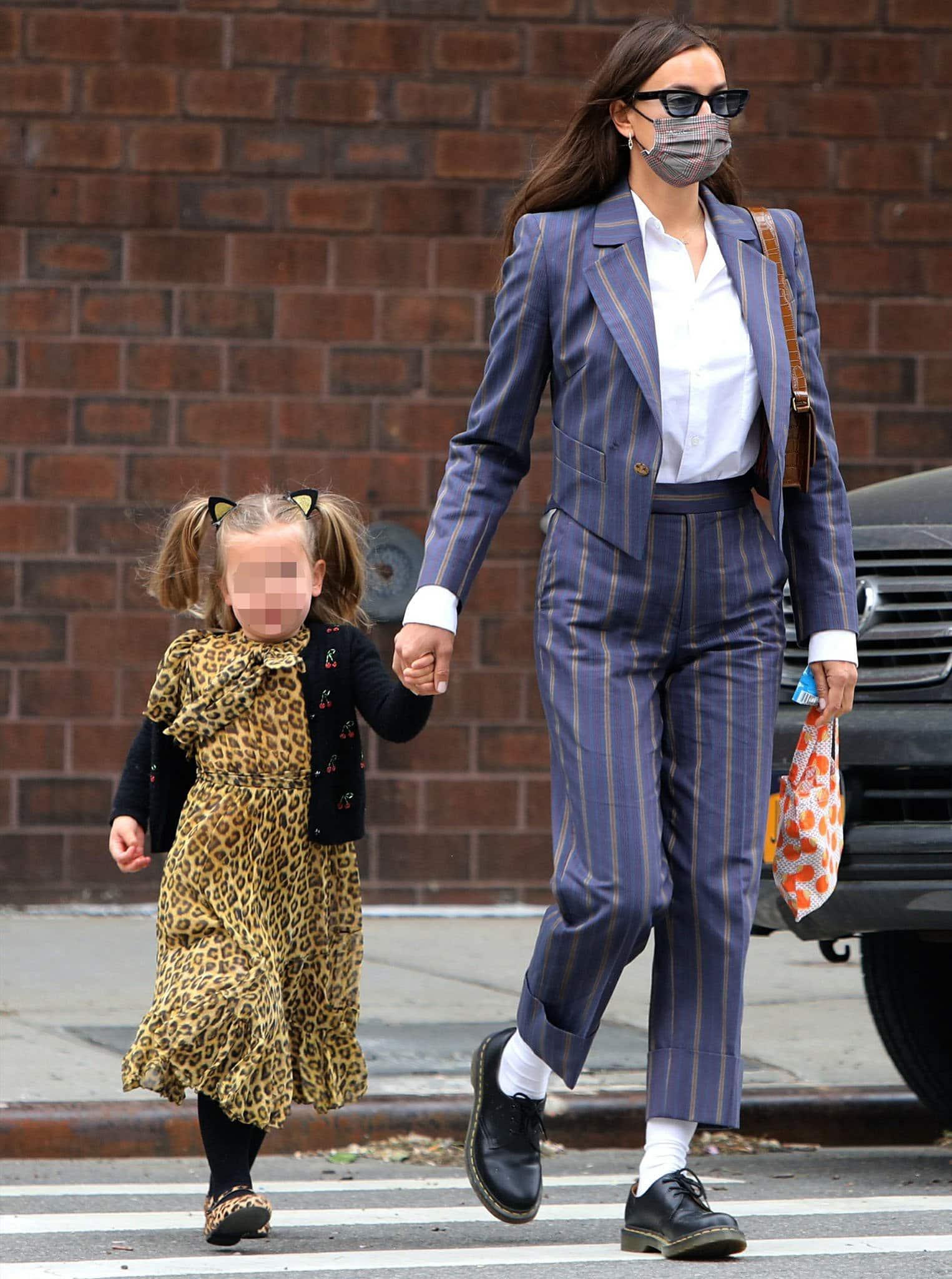 Irina Shayk picks up her daughter Lea from school in New York City on May 3, 2021
