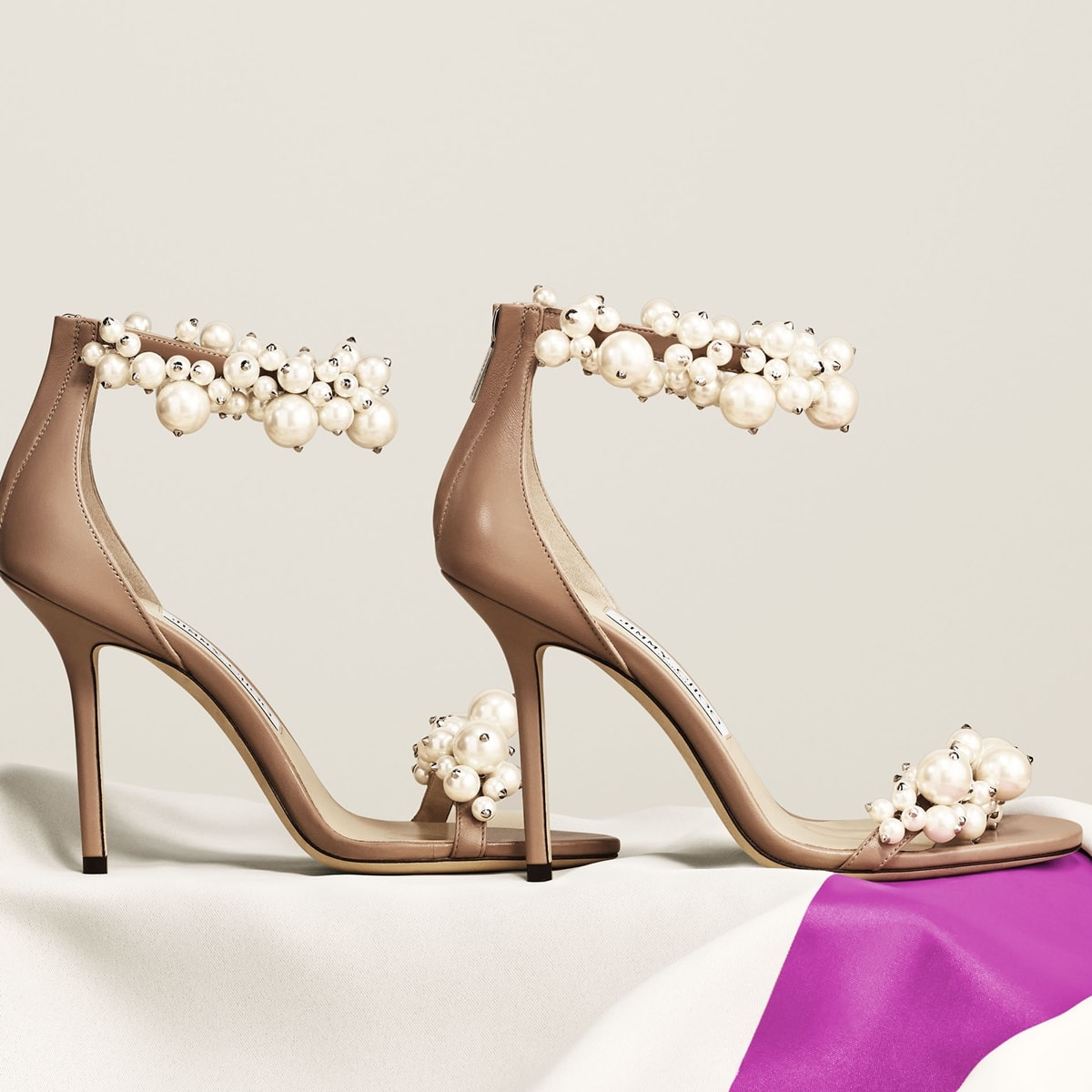 Jimmy Choo sandals embellished with clusters of mixed imitation-pearls