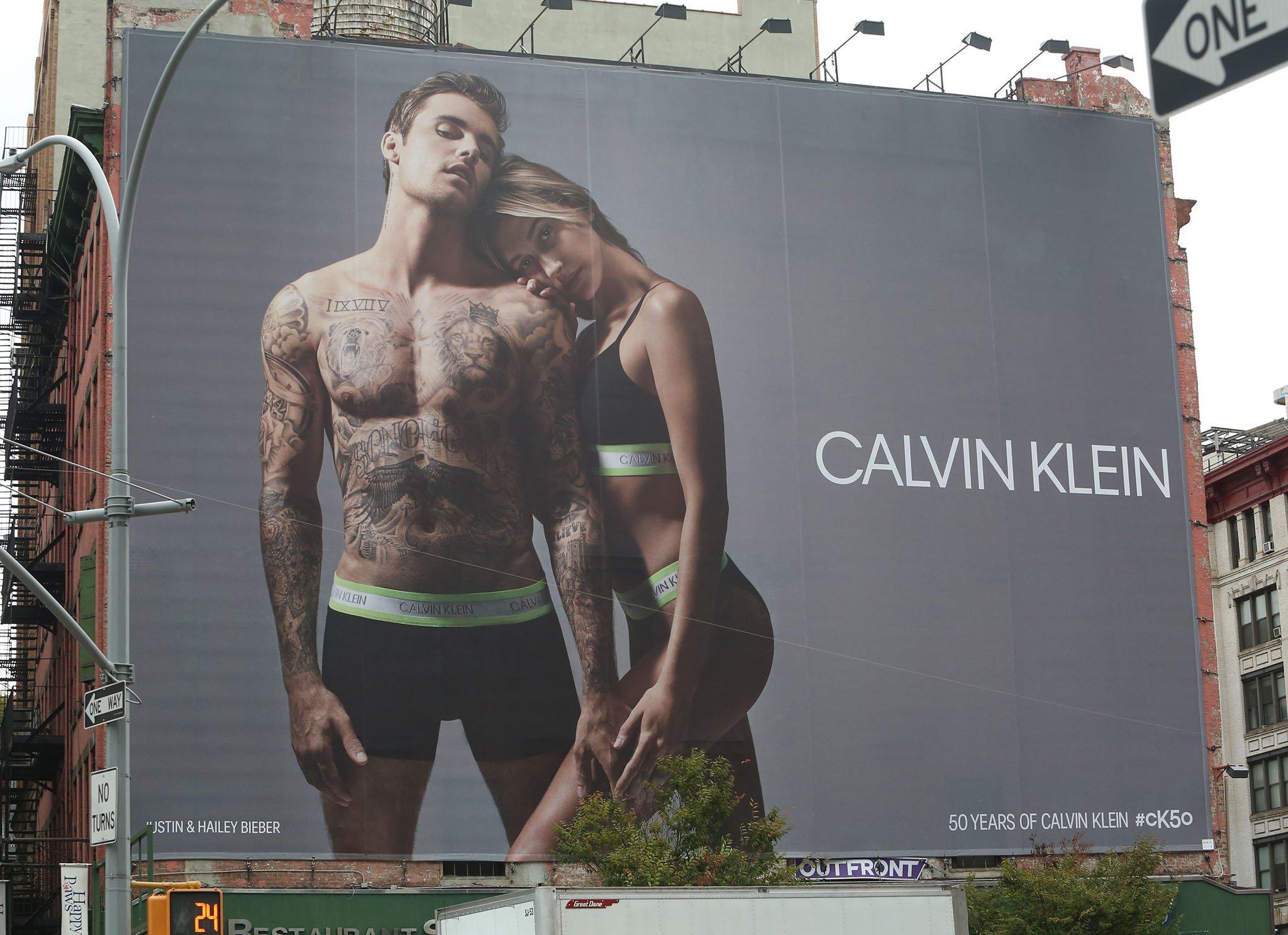 Justin Bieber and Hailey Bieber's Calvin Klein billboard in Soho, New York City