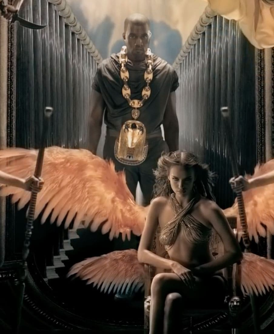 A screenshot from Kanye West's Power music video with Irina Shayk as a CGI-winged angel
