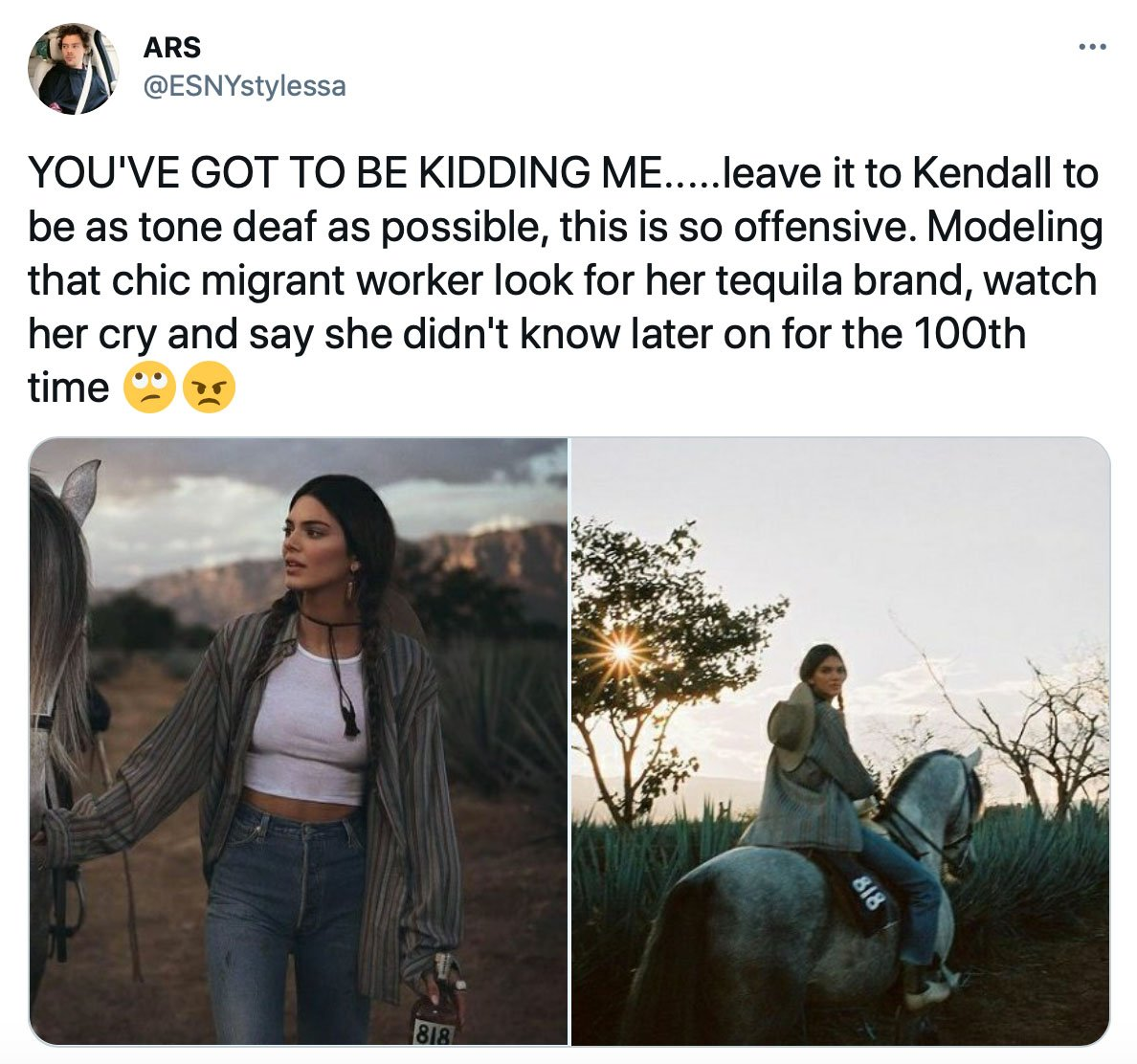 Kendall Jenner is being criticized for migrant chic cultural appropriation in new tequila ad