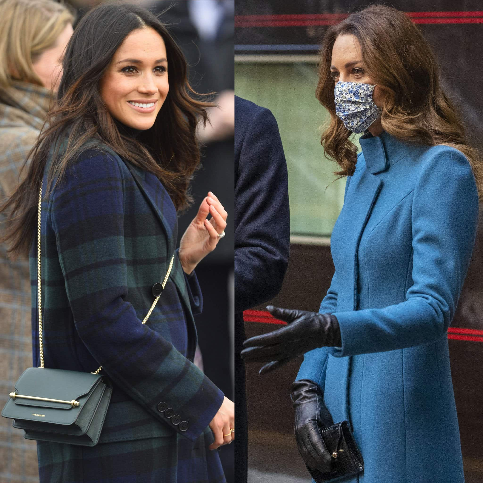 Meghan Markle, Duchess of Sussex, carries the East/West Mini bag, while Kate Middleton, Duchess of Cambridge, holds her Multrees Chain wallet