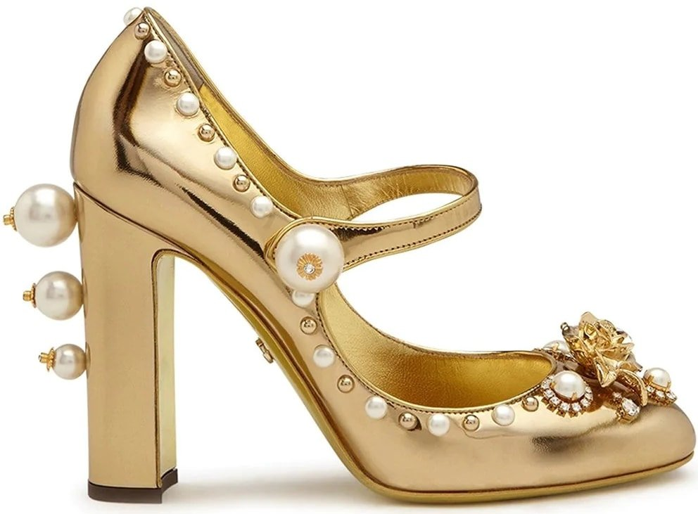 These pearl-embellished block-heel pumps are made of mirrored calfskin and boast jewel embroidery and a decorative pearl buckle