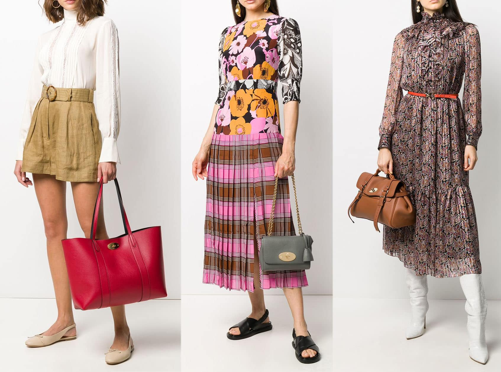 Mulberry's famous handbag styles include the Bayswater, Lily, and Alexa