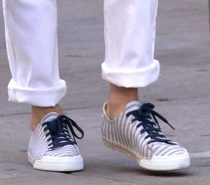 Nicky Hilton promotes her French Sole Amanda striped plimsolls