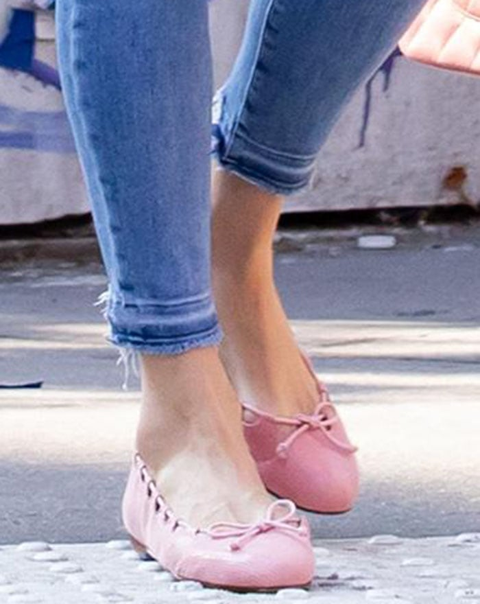 Nicky Hilton matches her feminine pink jacket with pink French Sole Charlott flats
