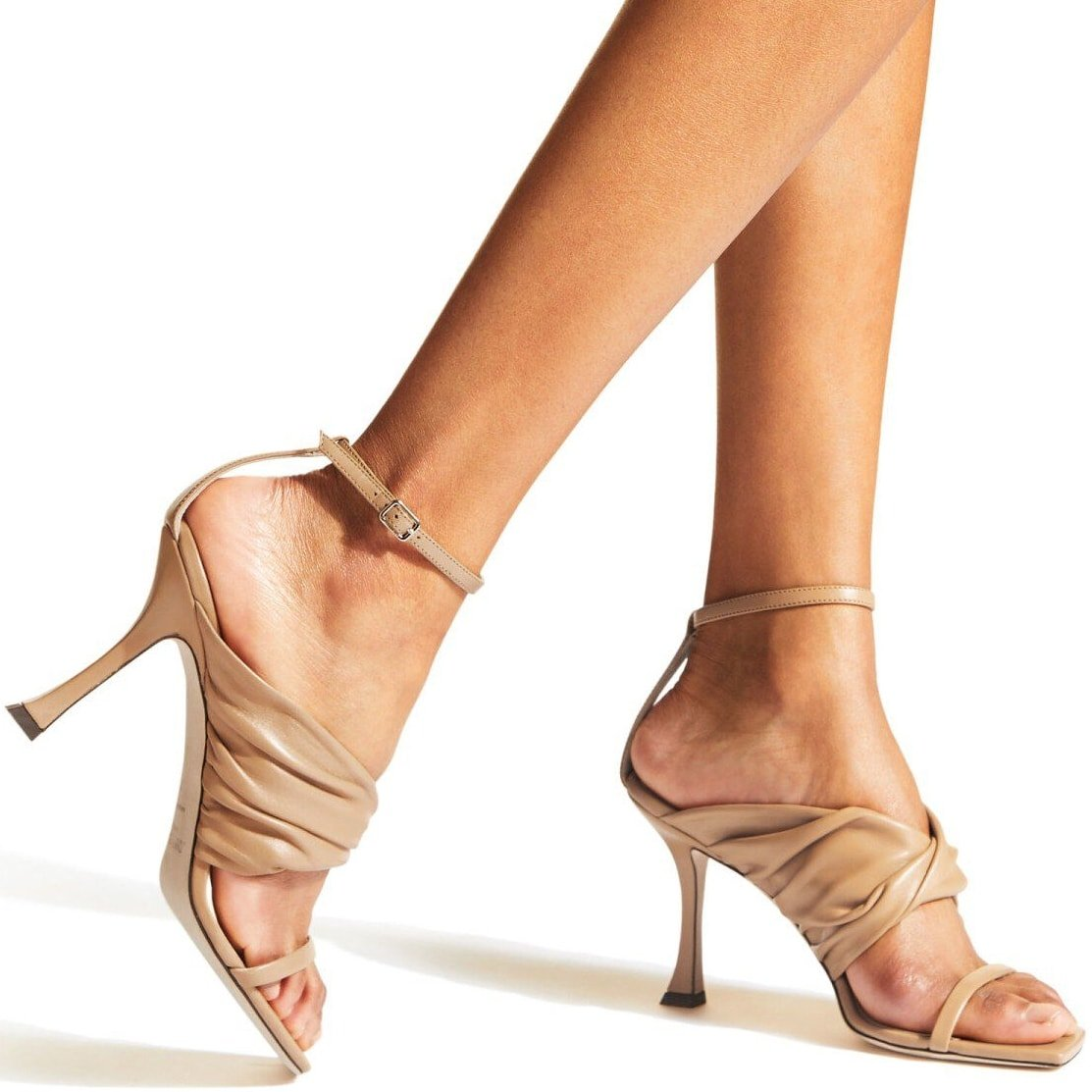 Jimmy Choo's caramel leather Ocean sandals are finished with a squared-toe and sit on a 90mm curved heel