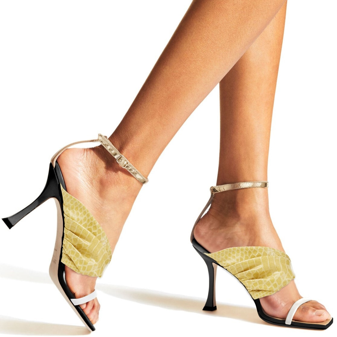 Colorful gel snake printed leather sandals with wide ruched sunbleached nappa leather detailing, a delicate latte strap across the toe, a refined gold-tone ankle strap and buckle fastening