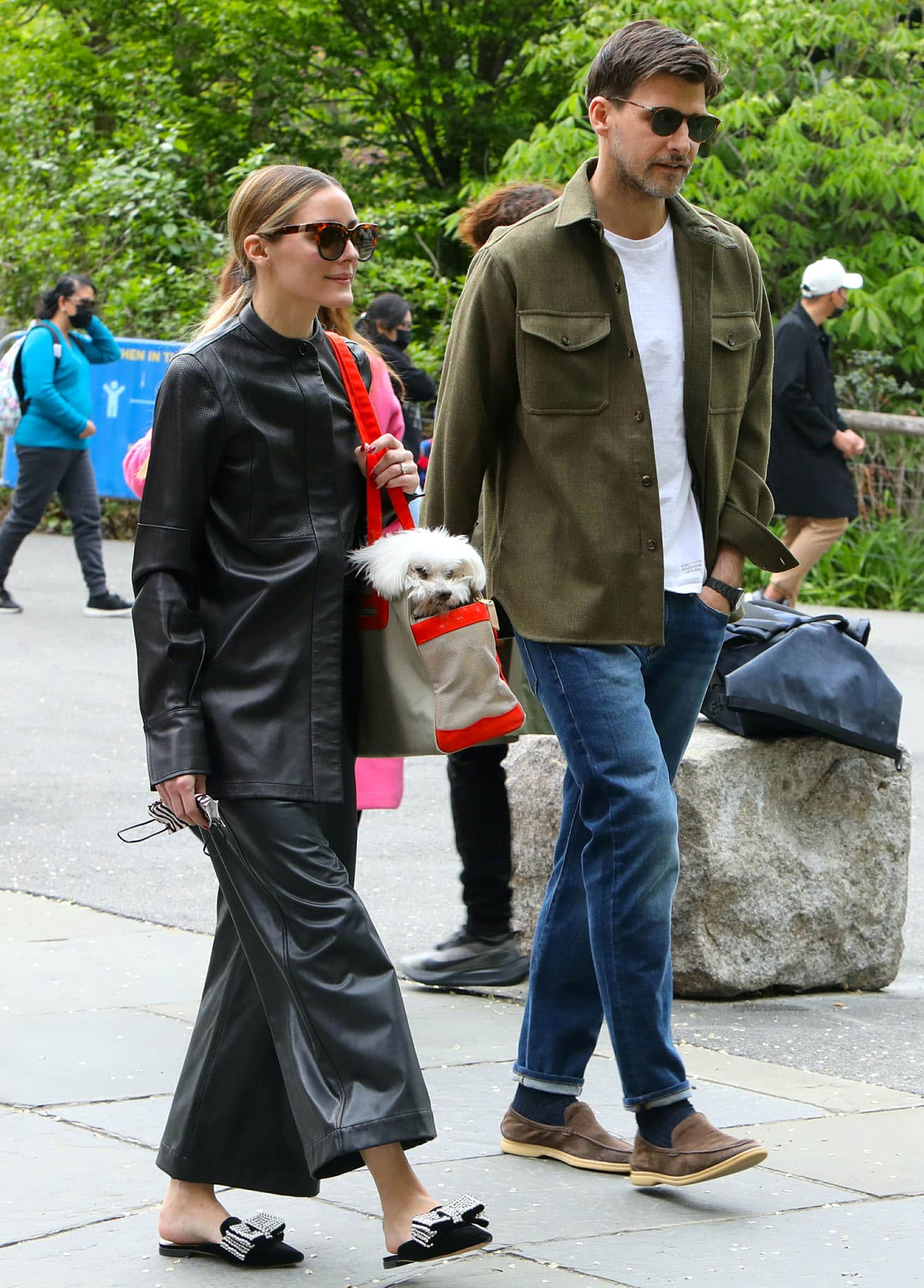 Olivia Palermo and husband Johannes Huebl take their dog Mr. Butler to the Park in Dumbo, Brooklyn on May 10, 2021