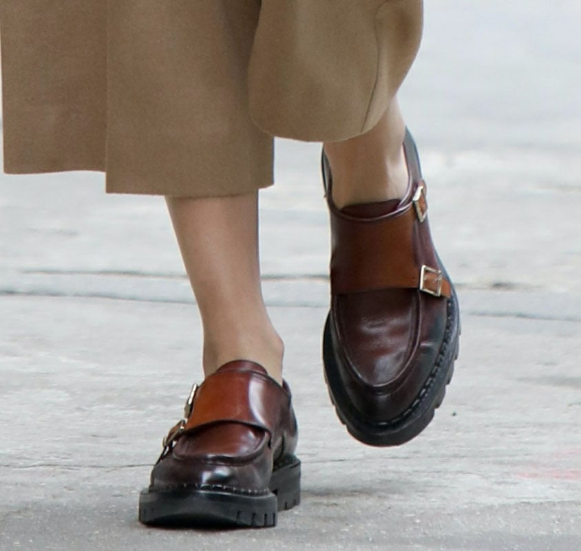 Olivia Palermo completes her street-chic look with Santoni loafers
